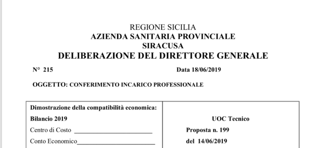 Ospedale di Avola Delibera n. 215 del 18/6/2019